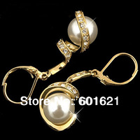 Wholesale jewelry 18k gold plated made with Austrian crystal rhinestone alloy 2014 fashion pearl dangling earrings