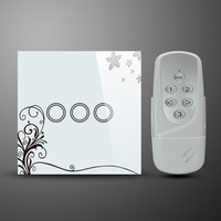AC110~240V UK standard 3 Gang Crystal Glass Panel Wireless Remote Control Wall Light Touch Switch LED Backlight For LED