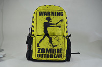 New 2013 zombies top selling school bag backpack large zipper fancy yellow and black allover printing backpack, retail BBP117