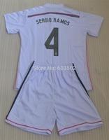 14-15 Real madrid home white SERGIO RAMOS ARBELOA JESE JAMES ALONSO ISCO IKER CASILLAS RONALDO PEPE Boy kids soccer jersey kits