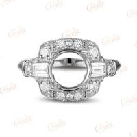 8mm Round Vinage Style Milgrain Diamond Solid 14k White Gold Semi Mount Ring