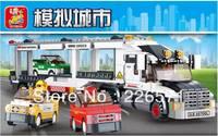Sluban Auto Transport Truck B0339 Building Block Sets 638pcs Educational DIY Jigsaw Construction Bricks Toys for Children