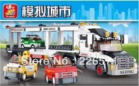 Sluban Auto Transport Truck B0339 Building Block Sets 638pcs Educational DIY Jigsaw Construction Bricks Toys for Children