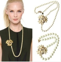 2013 fashion new arrival fundaisy***Luxury Jewelry Extravagant Pearl Flower Statement Wedding party Necklace OEM wholesale