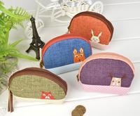 2013 women cute vanilla manor coin purse cotton linen patch key change  wallet card mini bag carteira bolsas specail gift