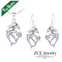 Free shipping Top Quality Dolphin Micro inlays technology fashion jewelry set White K Platinum plated stock for women