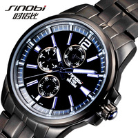 Free shipping new 2013 Sinobi multifunctional men full steel watch fashion quartz watch men watch