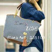 Dropshipping Bags Handbags Fashion 2013 Women Stripe Street Snap Candid Tote Canvas Shoulder Bag 3998