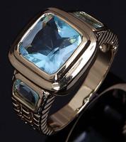 Fashion/Size 8 9 10 11 12 Jewelry NO77 Man's Blue Aquamarine 10KT Y w Gold  Ring Gift/Free Shipping