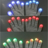 Free Shipping Funny Gift One pair of 7 Mode LED Gloves Rave Light Finger Lighting Glow Flashing Gloves