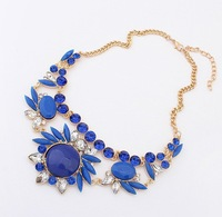 2014 New Fashion Collar Choker Jewelry  Flower Statement Necklace With Crystal Rhinestone  For Women  Free Shipping