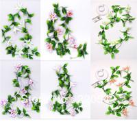 2pcs/lot 200cm Artificial Lily Garland Silk Flower Vine Wedding Garden Decoration SHQ21-24