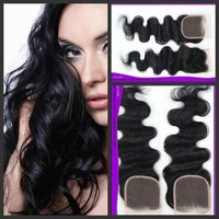 Free DHL fast delivery stock swiss lace top closures natural color #1b body wave bleach knots lace closure 4x4""