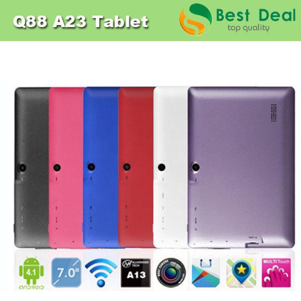 "DHL Free shipping 7"" Android 4.1 Allwinner A13 Q88 Tablet PC Dual Camera 512M/4GB WIFI External 3G, 5pcs/lot(China (Mainland))"