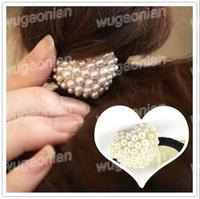 Sweet Imitation Pearl Beads Love Heart Elastic Hair Band Ponytail Holder Free Shipping 3pcs/lot