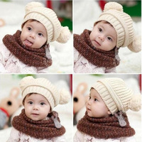 The newest Korean version 2013 fashion cute baby knitting cap children winter warm double ball hat baby solid color hat