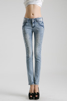 Free Shipping!  2013 98% Cotton Women Jeans Explosion Models In Europe Lady Rhinestone