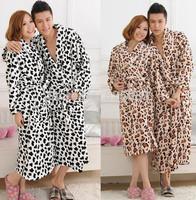 Free Shipping Leopard Print Pyjamas Winter Bathrobe Couple Pijamas Terry Robe Pajamas Women Nightdress Sleepwear Nightgown A0226