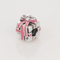 New Arrival 925 Sterling Silver Gift Box Screw Spacer Charm Bead with Pink Bowknot, Suitable for Pandora Bracelet DIY A47B