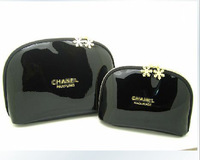 High quality small patent leather shiny gold zipper size twinset day clutch cosmetic bag