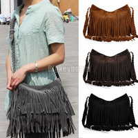 Women Vintage Faux Suede Tassel Fringe Messenger Shoulder Handbag Crossbody Bag Free Shipping