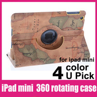 "1pcs free shipping For iPad mini 360 Rotating Cover New Design World Map Pattern Stand Case  7.7"" tablet pc case"