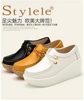 2013 Newest Autum and Winter Women Shoes Pumps Wedges Genuine Leater Shoes Cow Split Small Size Shoes High Heel 7CM