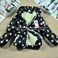 Girl's Winter Dot Cotton Coat Padded Jacket Warm Thick Outwear Kofta Russian Down & Parkas Free Shipping 2014 SCG-2023