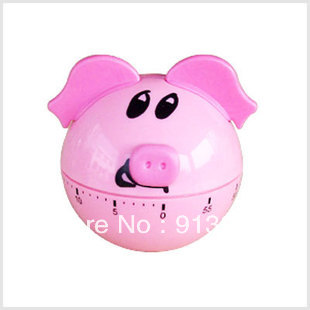 Free Shipping High quality pig round bottom timer mechanical kitchen timer with alarm reminder