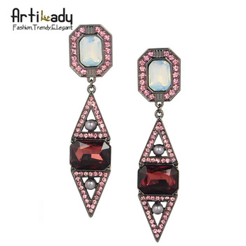 Artilady crystal waterdrop earrings  fashion 2014 winter retro vintage statement women earring jewelry free shipping