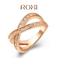 11.11sale ROXI brands rose gold wedding cross Ring platinum plated with AAA zircon,fashion beautiful women rings,wholesale