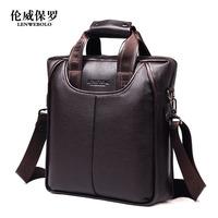 Hot sale!! LENWE BOLO Genuine Leather Men Bag Briefcase Handbag Men Shoulder Bags Laptop Bag,free shipping