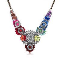 New 2014 Crystal Flower chunky choker statement necklace fashion pendants Luxury bib Necklace shourouk Factory Free Shipping