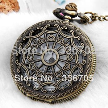 Min.Order 5pcs  Antique Brass Necklace Pendant Round Clock Watch HOT Sale!