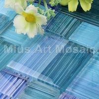 [Mius Art Mosaic] Blue color hand pain glass mosaic tile for kitchen backsplash & swimming pool D1X13007