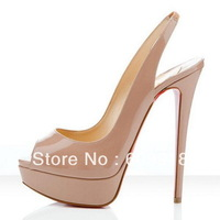 14CM Heel Brand Women Red Bottom Peep Toe Shoes Platform High Heels Slingback Heels Sandals