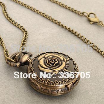 Min.Order 5pcs  Antique Bronze Rose Necklace Pendant Clock Watch HOT Sale!