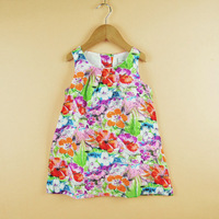 Flower Painting girl dresses new fashion 2013 100% cotton baby girl dress floral dresses children clothing girl dresses
