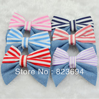 Vertical stripe denim fashion hairpin butterfly wafer shape side-knotted clip