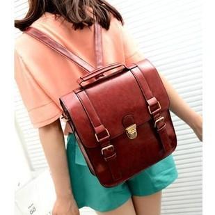 Free Shipping New Korean Women's PU Leather Backpack Fashion Vintage Student School Bag Girls Travel Shoulder Bag
