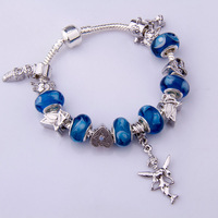 Dropping Shipping European 925 Silver Chain Bracelet for Women With Angel Charm Murano Glass Beads Christmas Jewelry PA1192