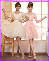 2014 new arrival women short bride pailltte evening dress princess sleeve graduation dresses chiffon short party dress