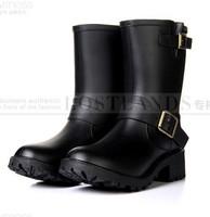 new women High quality shoes, hasp women's motorcycle boots rainboots women's rain boots black warm shoe 5