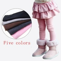 2014 antumn winter new fashion warm pants children's clothing girls leggings skirts cotton cake culottes kids/baby trousers