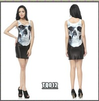 Free shipping Skeleton skull blackmilk dress slim vest basic one-piece dress female black slim hip short skirt long