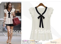 free shipping ! 2013 New arrival chiffon tops, short-sleeved cardigan with a fold 6 sizes S-XXXL AMY8024 #