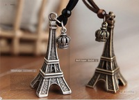 2013 New Arrival Korean Vintage Eiffel Tower Crown Pendant Necklace With Long Hide Rope (Min order is $10 Mixed order)