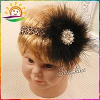 Leopard print for girl feather headband diamond pearl vintage;baby rhinestone/pearl party Princess hairband #2B2271 10pcs/lot