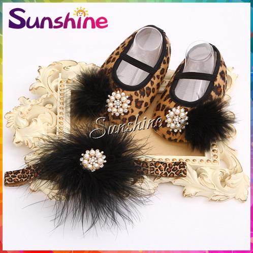 Sunshine store #2B1916 3set/lot Baby girls Vintage diamond/pearl Ballerina Booties&feathers headband Set Leopard Shoes set CPAM(China (Mainland))