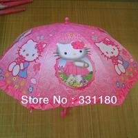 Hello kitty clear cartoon automatic sun rain umbrella rain for kids Children's  lace  UV umbrella  free shipping